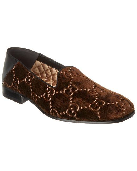 1b41a5a4a Gucci - Brown Gallipoli Collapsible-heel Leather-trimmed Embroidered Velvet  Loafers for Men ...