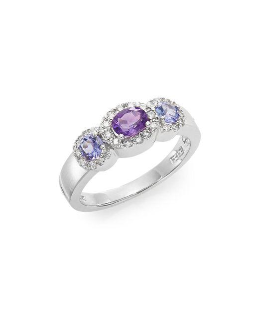 Effy - Purple Amethyst, Tanzanite, Diamond & 14k White Gold Ring - Lyst