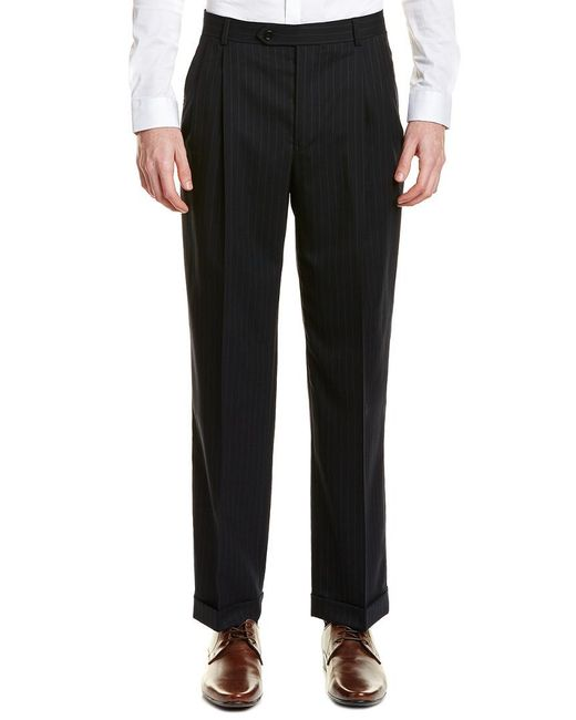 Brooks Brothers Blue Madison Fit Pleated Wool Blend Trouser for men