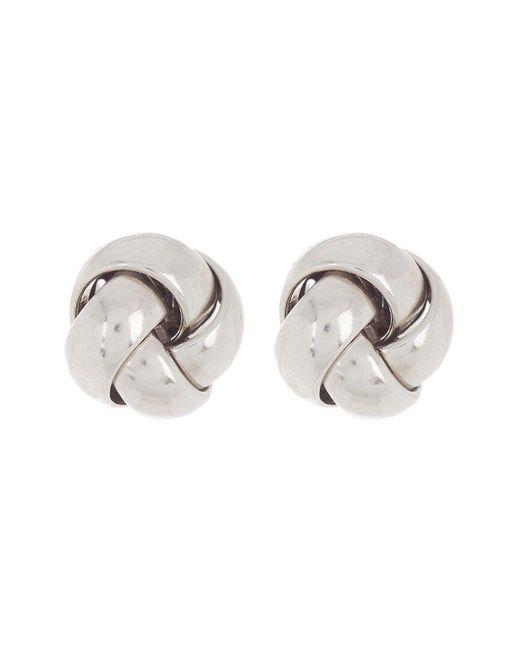 Adornia Metallic Silver Knot Studs