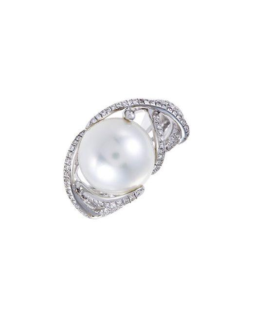Mikimoto Multicolor 18k 0.51 Ct. Tw. Diamond & 12mm Pearl Ring