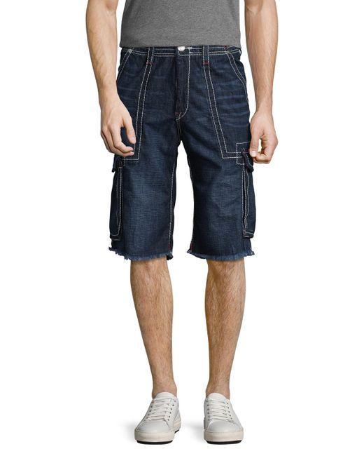 True Religion | Blue Cargo Cut-off Big T Denim Shorts for Men | Lyst