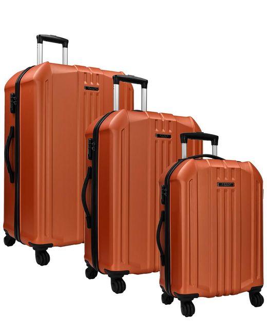 Elite Luggage Orange Long Beach 3pc Hardside Spinner Luggage Set