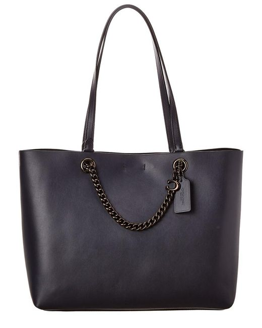 COACH Blue Chain Convertible Leather Tote