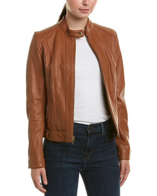 Cole Haan - Brown Racer Jacket With Quilted Panels - Lyst