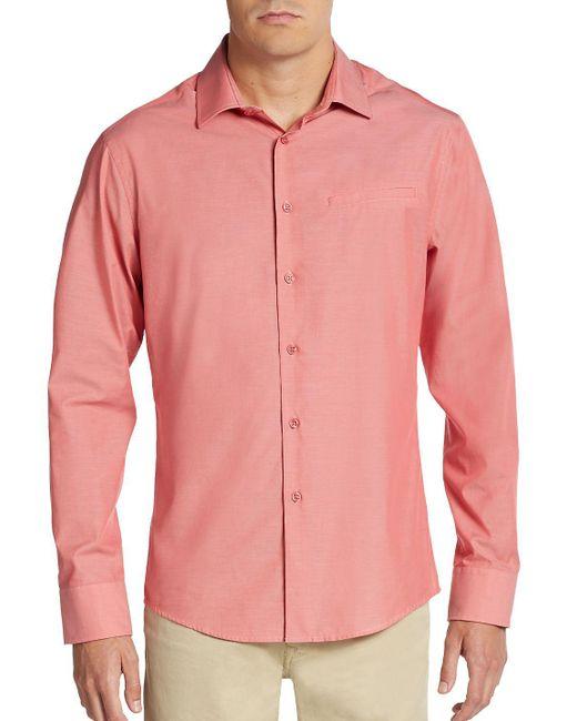 Vince Camuto - Pink Regular-fit Mock-pocket Sportshirt for Men - Lyst