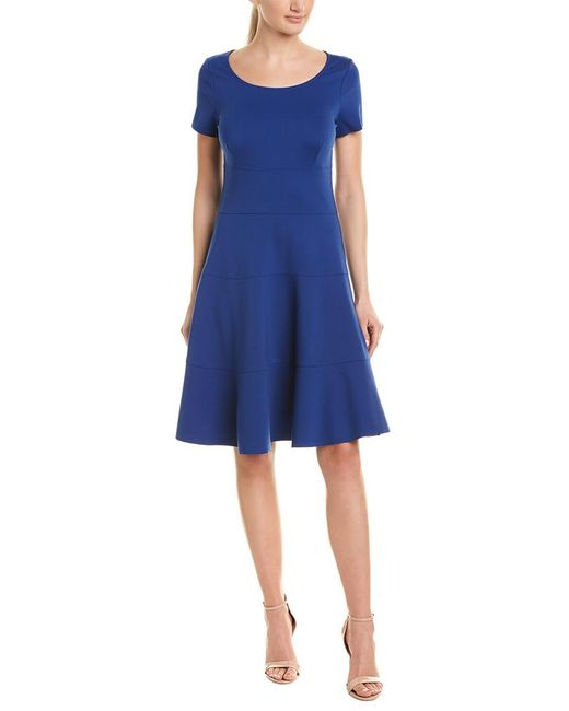 Three Dots Blue Ponte A-line Dress
