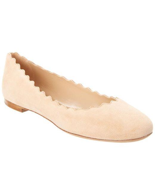 Chloé Natural Lauren Scalloped Suede Ballerina Flat