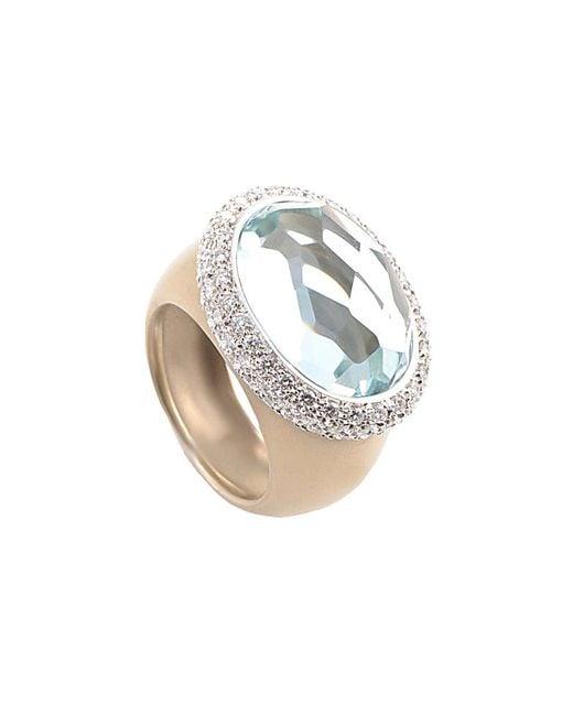 Pomellato Metallic 18k Rose Gold 1.12 Ct. Tw. Diamond & Aquamarine Ring