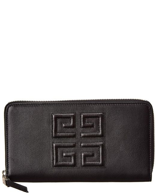 Givenchy Black 4g Long Leather Zip Around Wallet