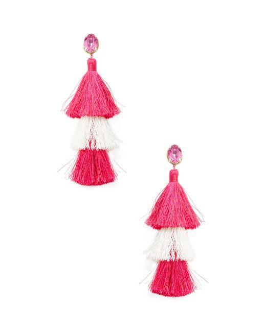 Deepa Gurnani - Multicolor Multi Tassel Statement Earrings - Lyst