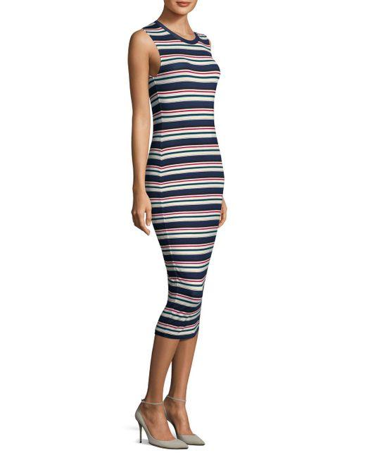 Multicolor stripe midi sheath dress