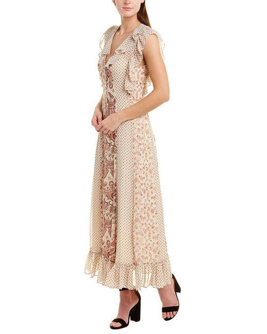 BCBGMAXAZRIA Natural Ruffle Maxi Dress