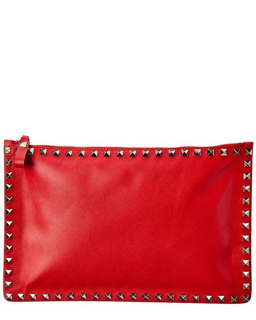 Valentino Garavani Red Rockstud Leather Pouch
