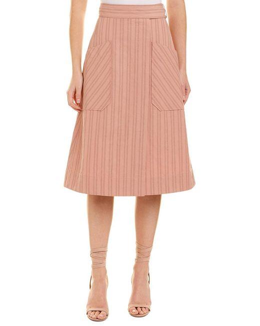 Rebecca Taylor Pink Striped Linen-blend Wrap Skirt