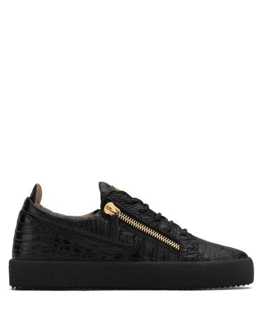 Sneaker basse noire embossée crocodile FRANKIE Giuseppe Zanotti pour homme en coloris Black