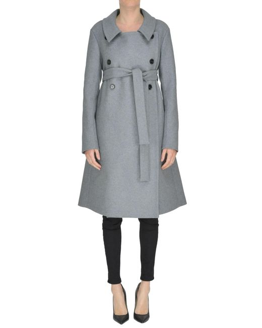 Rochas - Gray Double-breasted Coat - Lyst