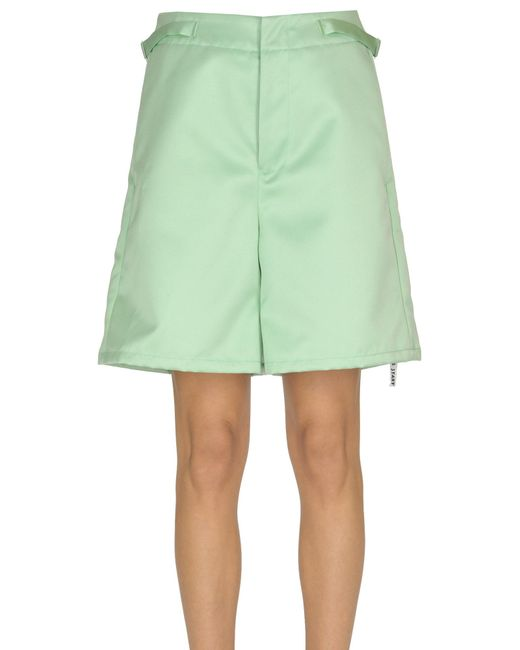 MM6 by Maison Martin Margiela Green Structured Satin Shorts