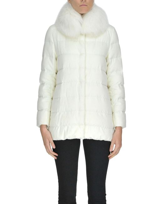 Herno - White Silk And Cashmere Cloth Down Jacket - Lyst