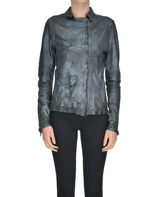 Salvatore Santoro - Gray Metallic Effect Leather Biker Jacket - Lyst