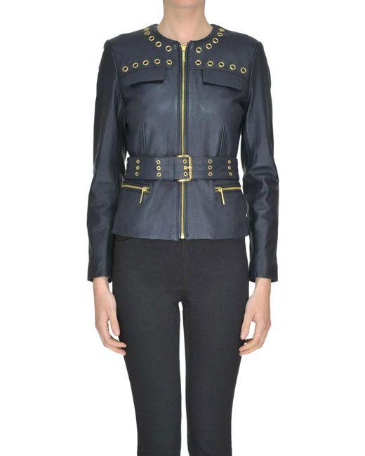 MICHAEL Michael Kors - Blue Leather Biker Jacket - Lyst