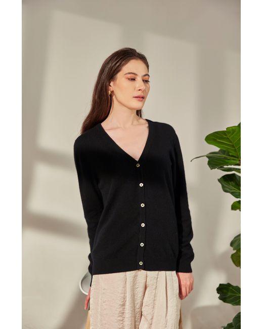 Gobi Cashmere USA Black V-neck Button Cardigan