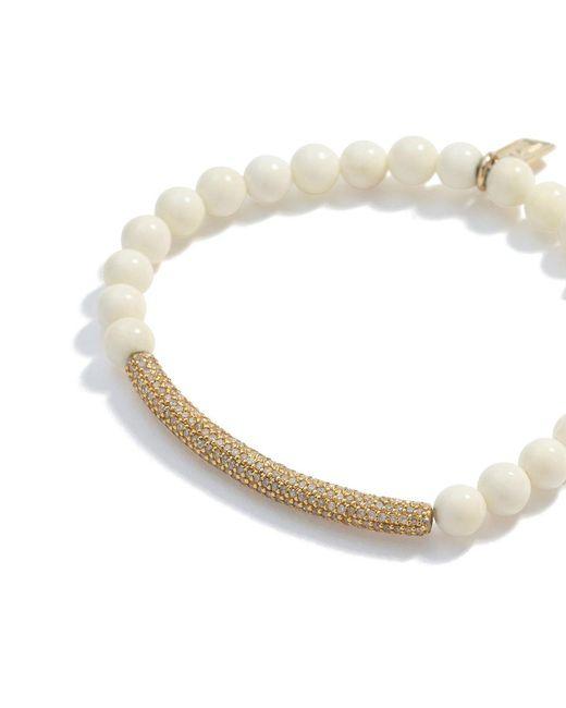 Sheryl Lowe - Multicolor Bone Bracelet With Pavé Diamond Bar - Lyst