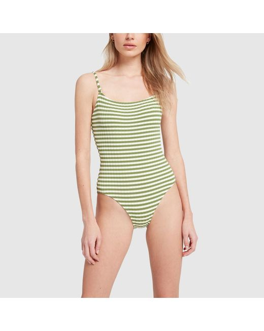 d92a364d155d9 Solid & Striped The Nina Grass Ribbed One-piece Swimsuit in Green ...
