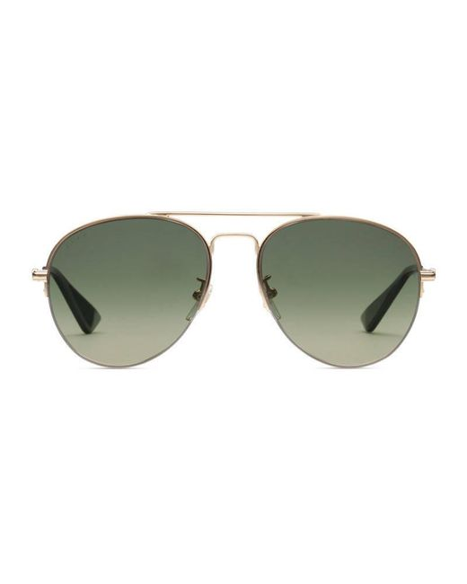 bc74bfc786 Lyst - Gucci Metal Aviator Sunglasses in Green