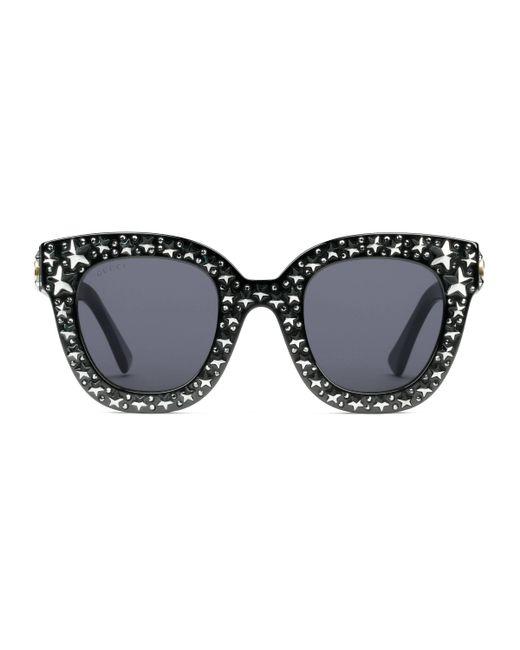 Gucci Black Cat Eye Acetate Sunglasses With Stars