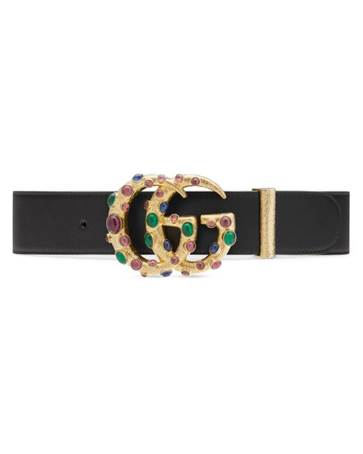 Gucci Black Leather Belt With Crystal Double G Buckle