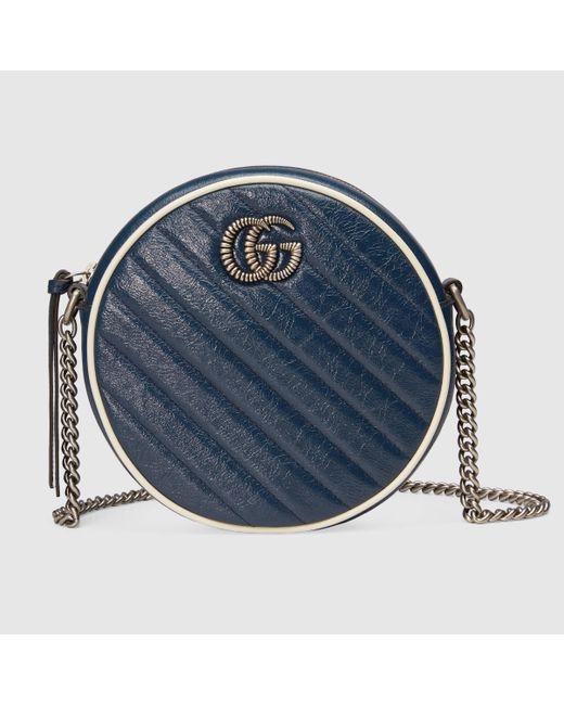 Gucci グッチ〔GGマーモント〕ミニ ラウンド ショルダーバッグ Blue