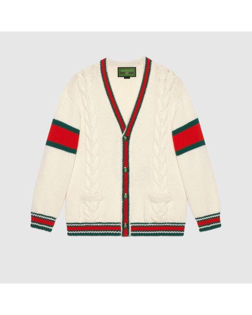 メンズ Gucci 【公式】 (グッチ)diy ユニセックス ウール カーディガンホワイトにブルーのアルファベットホワイト Multicolor