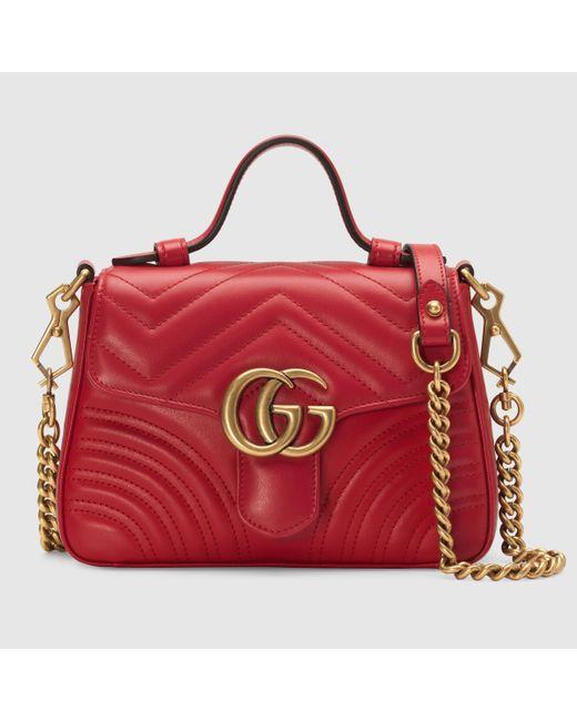 Gucci 【公式】 (グッチ)〔GGマーモント〕ミニ トップハンドルバッグハイビスカスレッド シェブロン レザーレッド Red