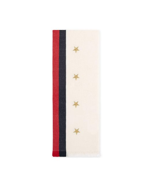 Gucci - Multicolor Web Wool Cashmere Scarf With Stars - Lyst