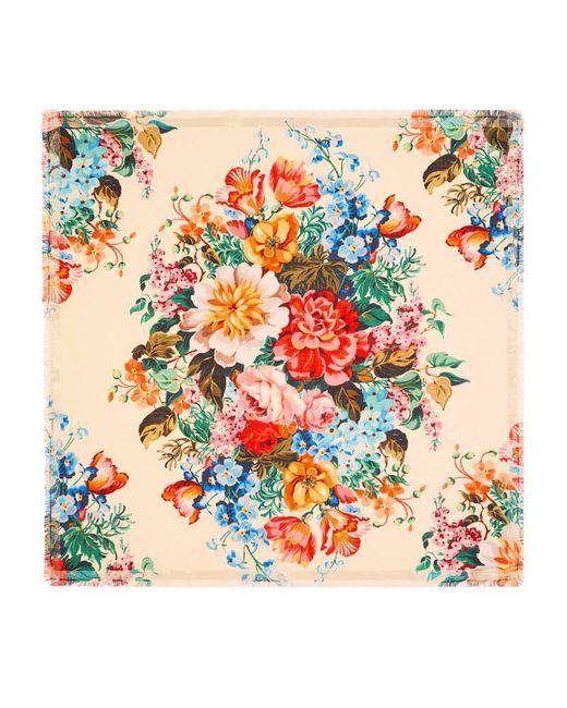 Gucci | Multicolor Floral Print Wool Silk Shawl | Lyst