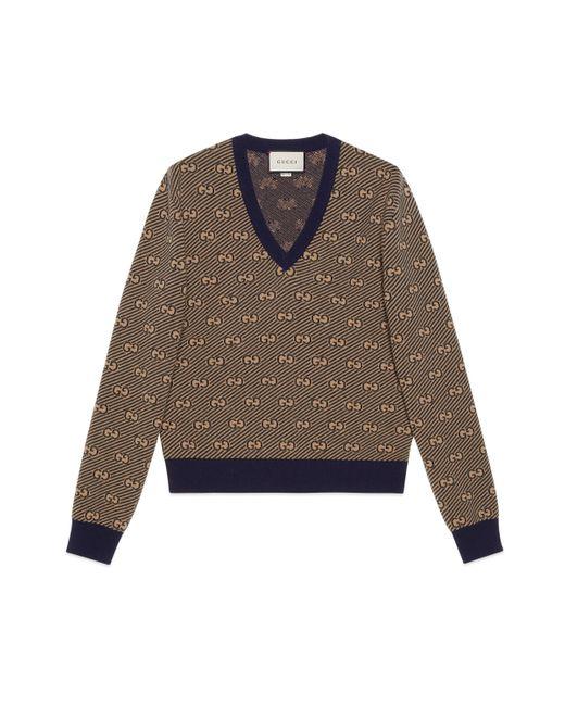 Sudadera de lana a rayas con cuello V y GG Gucci de hombre de color Brown