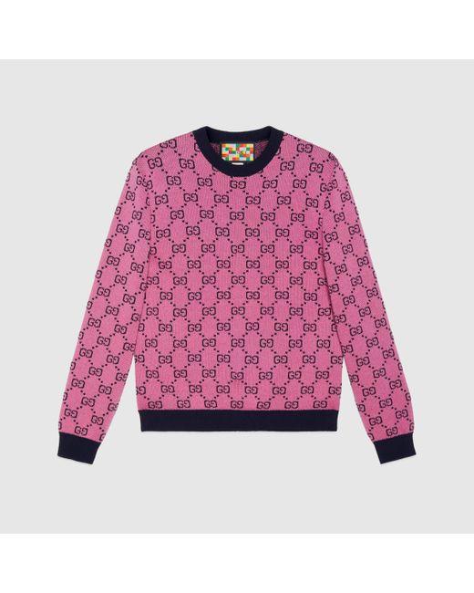 メンズ Gucci グッチ公式オンライン限定 GG マルチカラー ウールコットン セーターピンク&ブルーcolor_descriptionウェア Multicolor