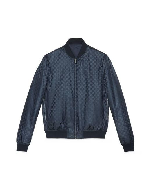 Gucci - Blue Reversible Gg Jacquard Nylon Bomber Jacket for Men - Lyst