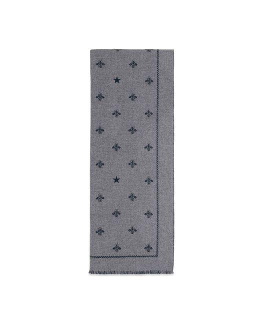 Écharpe en laine avec abeilles et étoiles Gucci pour homme en coloris Gray