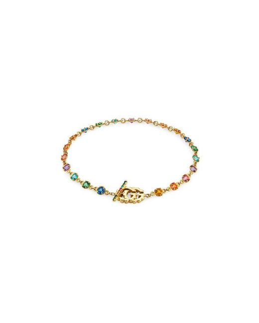 Gucci | Metallic Double G Bracelet With Multicolor Stones | Lyst