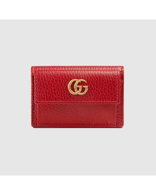 Gucci グッチ〔プチ マーモント〕レザー ウォレット Red