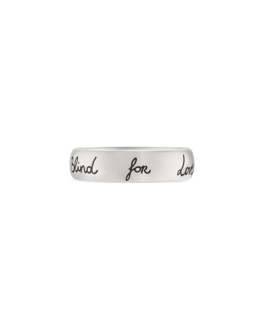 """Gucci Metallic """"blind For Love"""" Ring In Silver"""