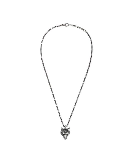 Gucci - Metallic Anger Forest Wolf Head Necklace In Silver - Lyst