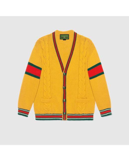 Gucci グッチdiy ユニセックス ウール カーディガン Yellow