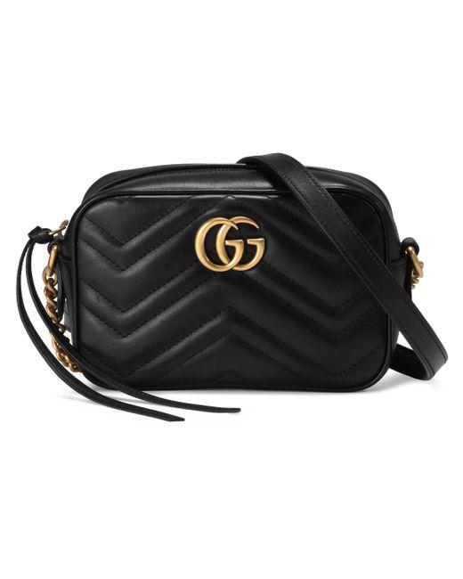 Bolso de Hombro GG Marmont Pequeño de Matelassé Gucci de color Black