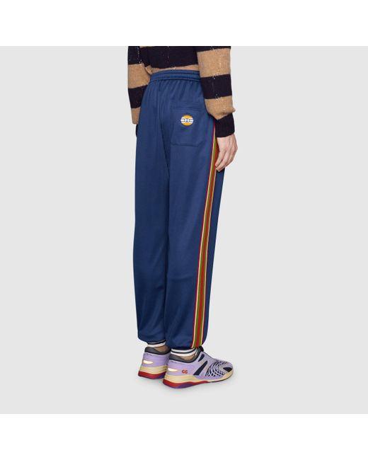 メンズ Gucci グッチオンライン限定 テクニカルジャージー ジョギングパンツ Blue