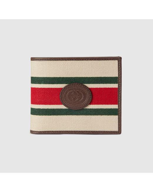 メンズ Gucci 【公式】 (グッチ)オンライン限定 ウェブ ストライプ付き ウォレットベージュ リネンホワイト Multicolor