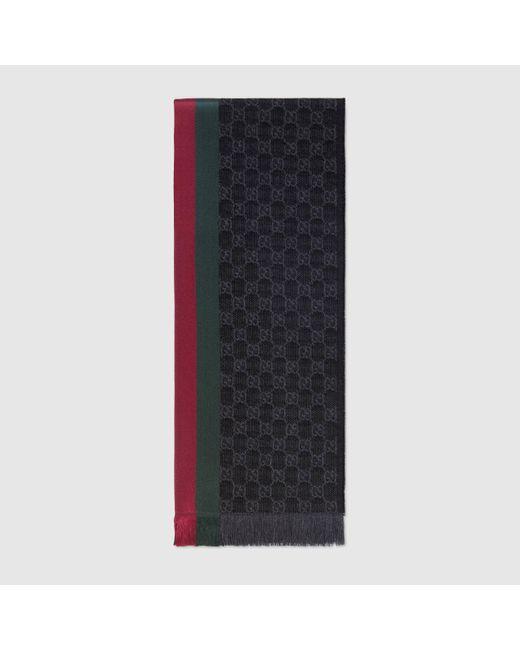メンズ Gucci グッチGGパターンマフラー(ウェブ/フリンジ) Gray
