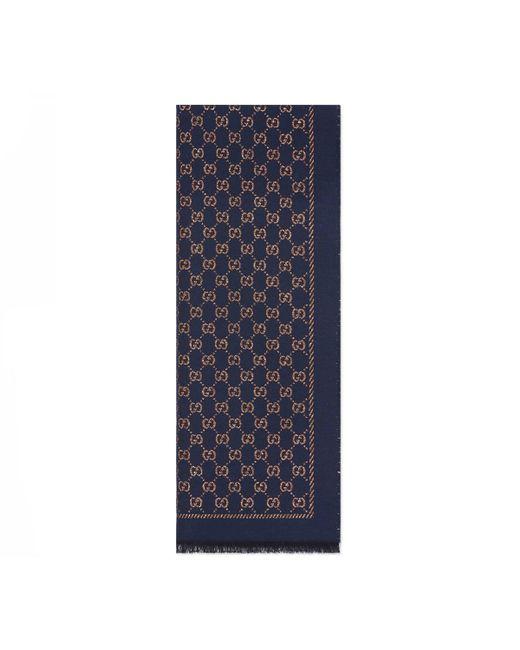 Gucci Blue Metallic GG Wool Scarf